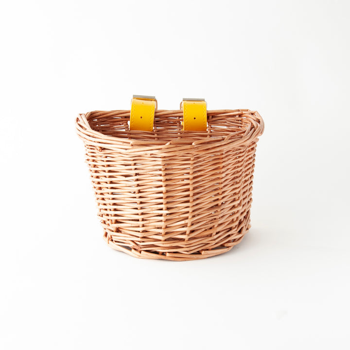 Beep Kids Wicker Bike/Scooter  Basket (Natural & Yellow)