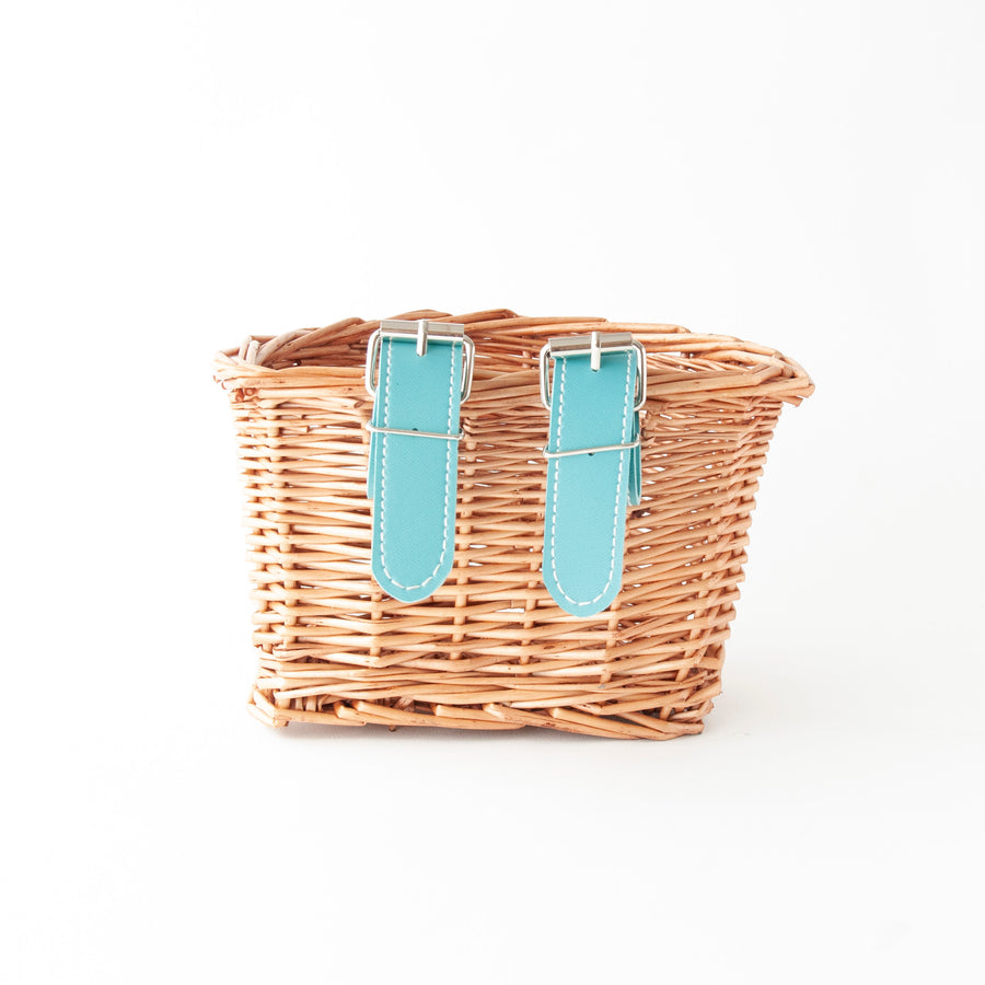 Beep Kids Wicker Bike Basket (Natural & Mint)