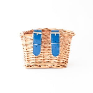 Beep Kids Wicker Bike Basket (Natural & Navy Blue)