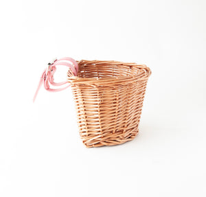 Beep Kids Wicker Bike Basket (Natural & Pink)