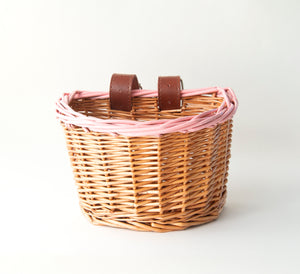 Kids Wicker Bike / Scooter  Basket (Pink Rim with Natural Straps)