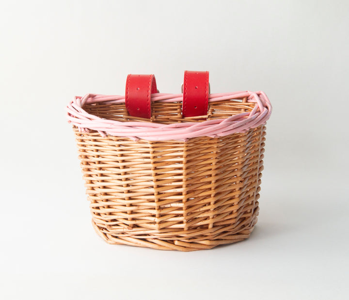 Pink and Red Wicker Bike and Scooter Basket