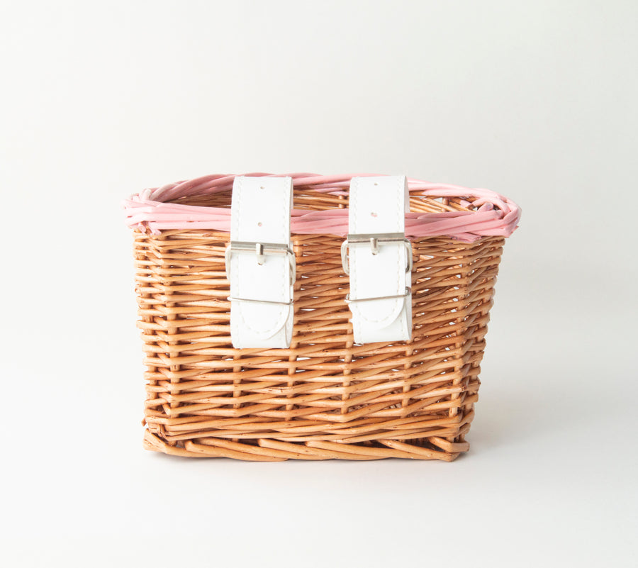 Pink and White Kids Wicker Bike / Scooter Basket