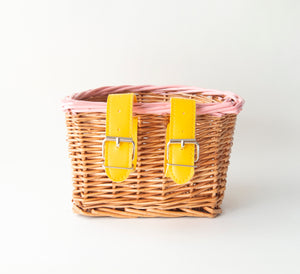 Pink and Yellow Kids Wicker Bike and Scooter Basket