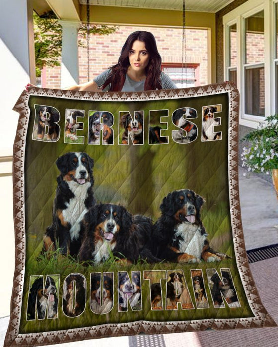Dog Blanket - Gift Idea For Dog Lovers, Dog Dad Mom - Bernese Mountain Dog Quilt Blanket