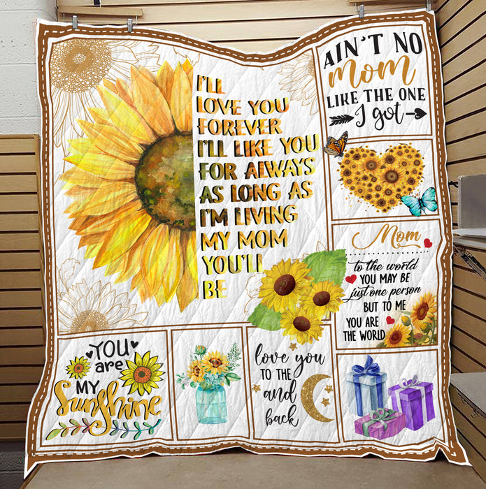 Mom I Love You To The Moon And Back Quilt Blanket - FitWearPro