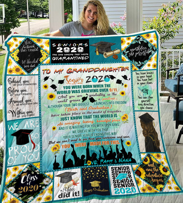 To My Granddaughter Senior 2020 Pappy and Nana Quilt Blanket - FitWearPro