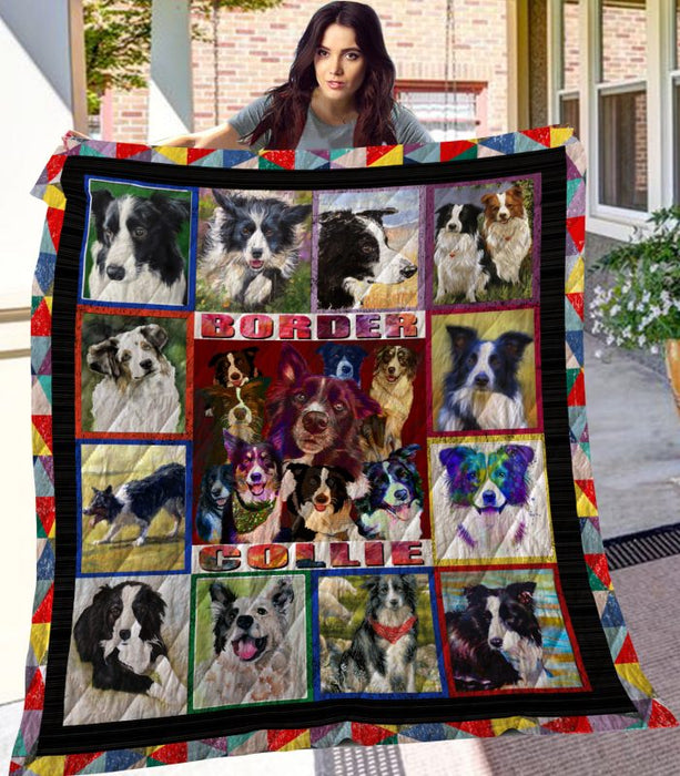 Dog Blanket -  Gift Idea For Dog Lovers, Dog Dad Mom - Border Collie Quilt Blanket