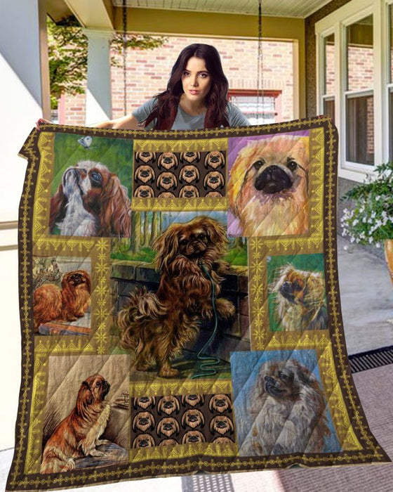 Dog Blanket - Gift Idea For Dog Lovers, Dog Dad Mom - Pekingese Quilt Blanket