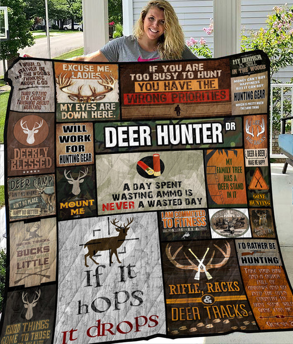 Awesome Deer Hunting Blanket - Perfect Christmas Present for Hunter - Deer Hunter Quilt