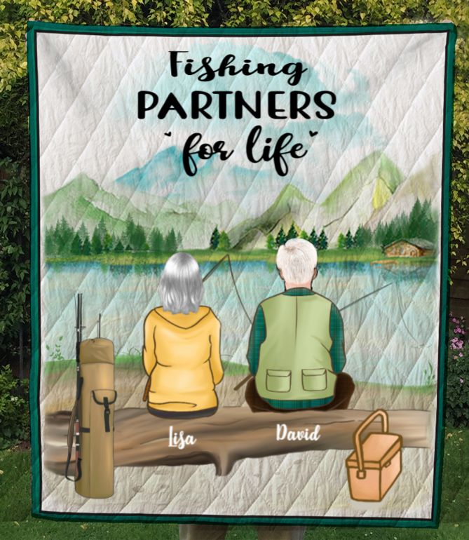 Personalized Fishing Blanket Gift idea for the whole family, couple, fishing lovers - Couple Fishing Quilt Blanket - No Kid, No Pet - Let's go fishing