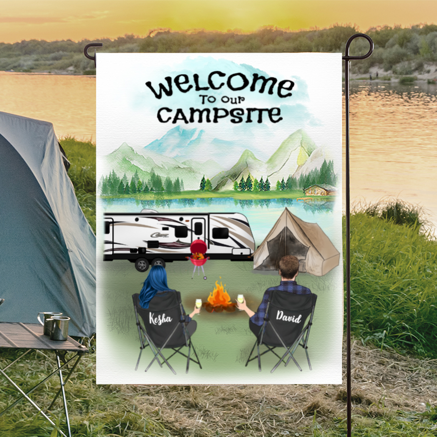 Personalized camping flag sign, gift idea for the whole family, camping lovers - Couple Personalized Banner with Full camper options