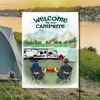 Personalized camping flag sign gift idea for the whole family, couples, camping lovers - Couple Personalized Banner - Happy Campers