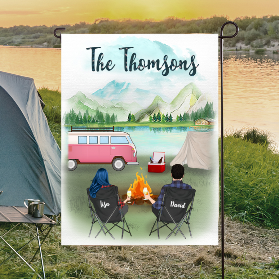 Personalized camping flag sign gift idea for the whole family, camping lovers - Couple & Family name Personalized Banner