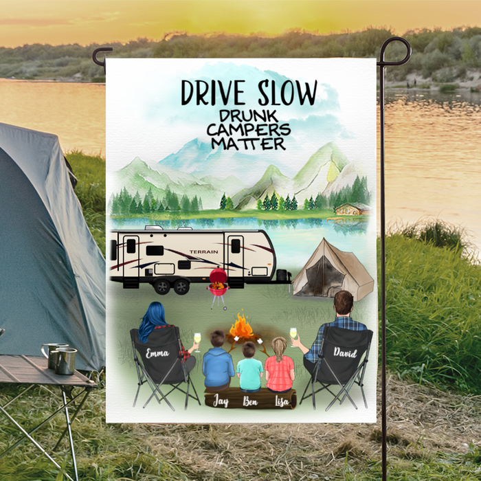 Personalized Camping Flag Sign Gift idea for the whole family, camping lovers - Parents & 3 kids Personalized Banner - Happy Campers
