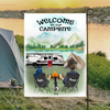 Personalized camping flag sign gift idea for the whole family, cats dogs lovers - Couple & 1 Pet Personalized Banner - Welcome to our campsite
