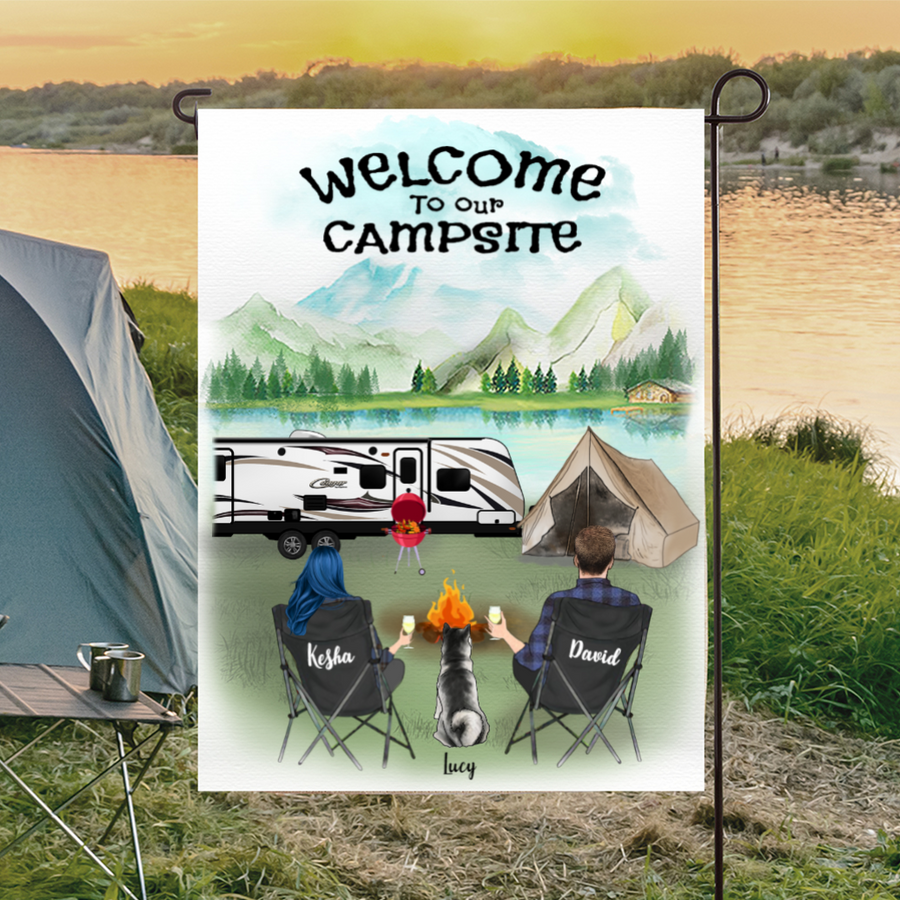 Custom pet flag sign, Personalized camping garden flag gift idea for the whole family, cats dogs lovers - Couple & 1 Pet Personalized Banner - Welcome to our campsite
