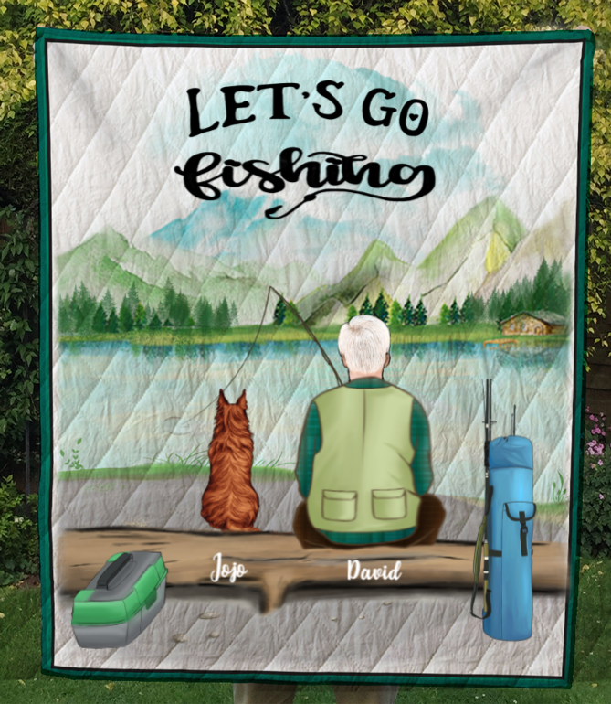 Personalized Dog & Owners Fishing Blanket Gift idea for dog dad, fishing lovers - 1 Man & Dogs Fishing Quilt Blanket - Let's go fishing