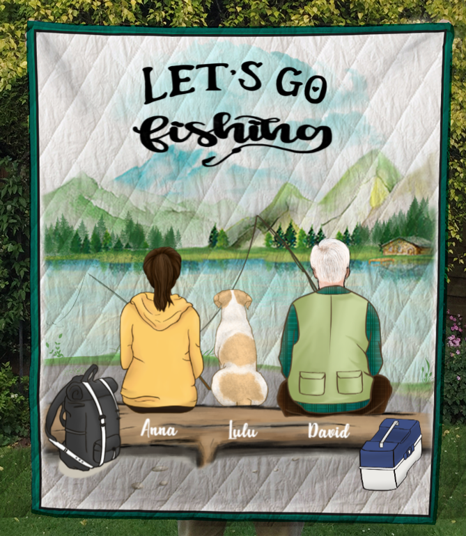 Personalized Dog & Owners Fishing Blanket Gift idea for the whole family, couple, dog lovers - Couple & 1 Dog Fishing Quilt Blanket V2- Let's go fishing