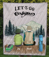 Personalized Blanket Gift Idea For Dad, Single Dad - Custom Fishing Quilt Blanket V3 - Dad & 1 Teen - Let's go fishing