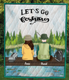 Personalized Fishing Blanket Gift idea for the whole family, couple, fishing lovers - Couple No Kid, No Dog Fishing Quilt Blanket V4 - Let's go fishing