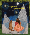 Custom Dog Blanket - Personalized Gift for Dog Mom - Mom & Dog Winter Camping Quilt - I love you to the moon and back