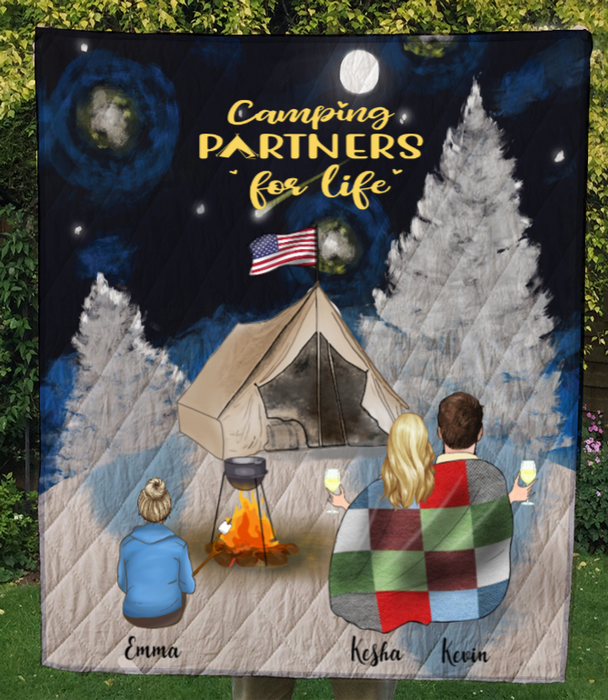 Personalized camping blanket gift idea for the whole family, camping lovers - Parents & 1 Kid winter camping quilt - Camping partners for life - Father's day gift - Mother's day gift from husband to wife