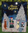 Pet Mom With 3 Pets - Personalized Moon & Snow Quilt Blanket