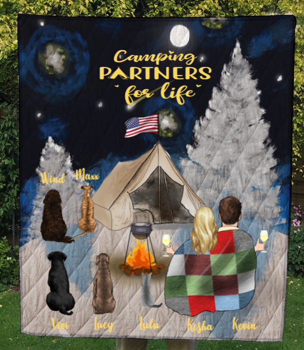 Personalized cat dog & owners camping blanket gift idea for the whole family, cat dog lovers - Couple & 5 Pets Snow Mountain Quilt