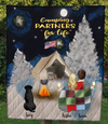 Couple And Pets - Moon & Snow Quilt Blanket