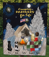 Couple And 3 Pets - Moon & Snow Quilt Blanket