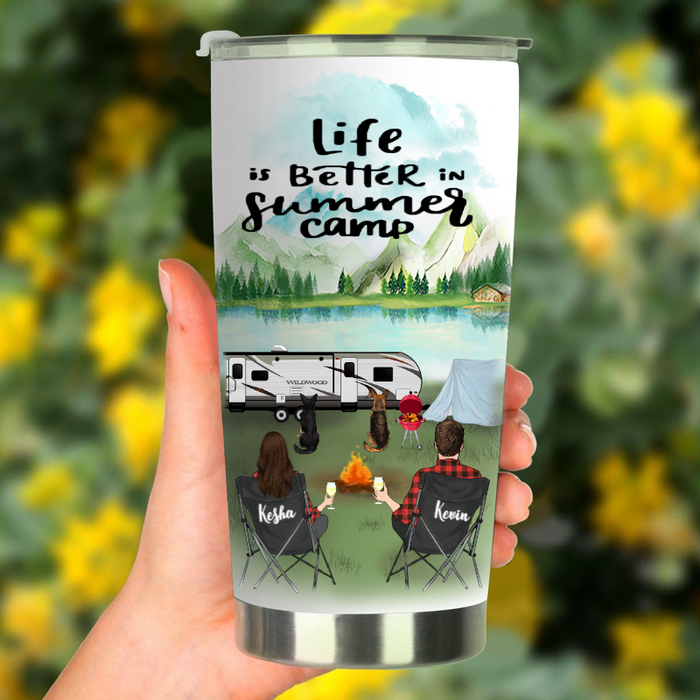 Family With 2 Dogs, Husband and Wife, Couple, Persionalized Camping Tumbler, Life Is Better In Summer Camp