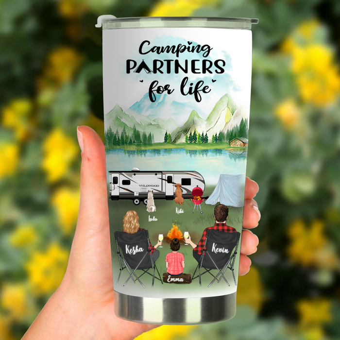 Custom Dog & Owners Camping Tumbler - Personalized Gift for the whole family, Cat Dog Lovers - Parents With 1 Kid & 2 Dogs Or Cats - Camping Partners For Life