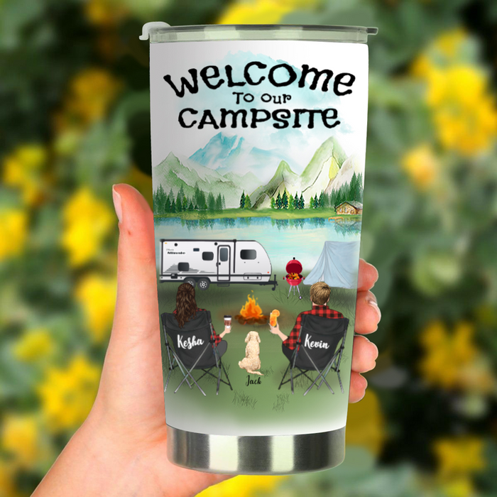 Custom Dog & Owners Camping Tumbler - Personalized Gift for Dog Lovers, Camping Couple - Couple & 1 Dog - Welcome to Our Campsite