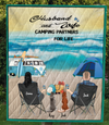 Personalized cat, dog & owners camping blanket gift idea for the whole family, cat dog lovers - 2 Pets & Couple beach camping quilt - I love you to the beach and back