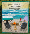 Family With 1 Dog - Camping On The Beach Quilt Blanket V5.2, Husband and Wife Camping Partners For Life