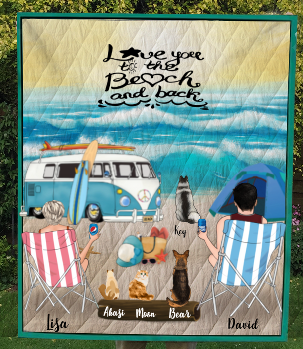 Personalized cat dog & owners camping blanket gift idea for the whole family, cat dog lovers - 4 Pets & Couple Beach Camping Quilt - Love you to the beach and back