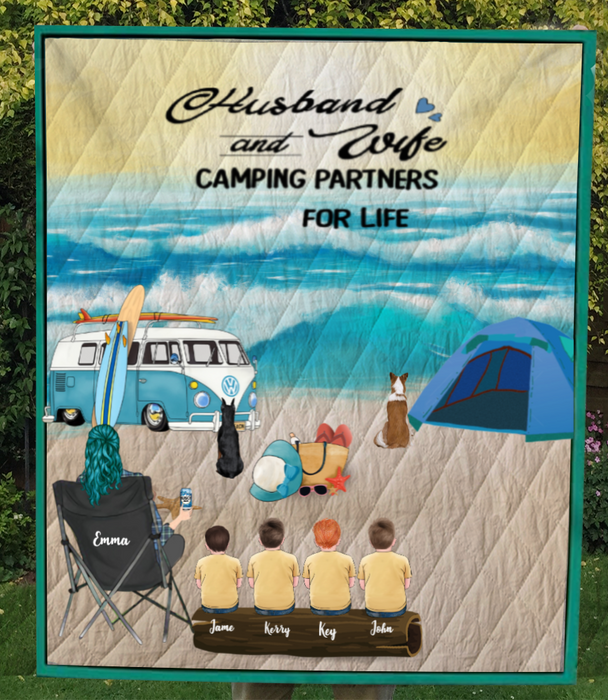 Single Mom With 4 Kids And 2 Dogs - Camping On The Beach Quilt Blanket V5.5, Husband and Wife Camping Partners For Life