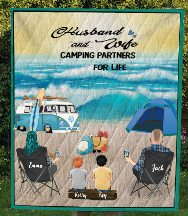 Family With 2 Kids  - Camping On The Beach Quilt Blanket V5.4, Husband and Wife Camping Partners For Life