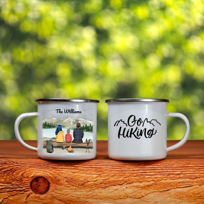 Personalized Hiking Enamel Mug, Gift Idea for the whole family - Parents & 1 Kid - Father's day gift - Mother's day gift from husband to wife - The Mountains Are Calling