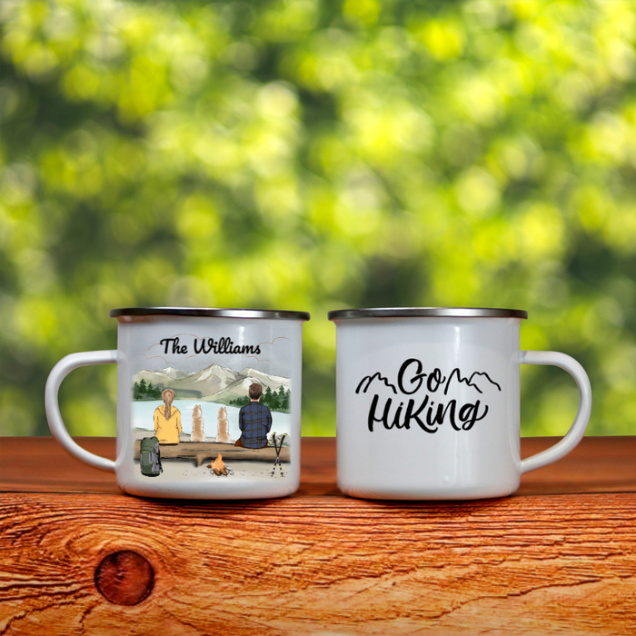 Personalized Cat, Dog & Owners Campfire Coffee Mug, Gift Idea for the whole family, Cat dog lovers -  Couple & 2 Pets Hiking Enamel Mug