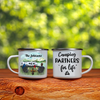 Personalized cat, dog & owners enamel mug, gift idea for the whole family, camping lovers - Couple & 1 Pet Camping enamel mug - Happy Campers