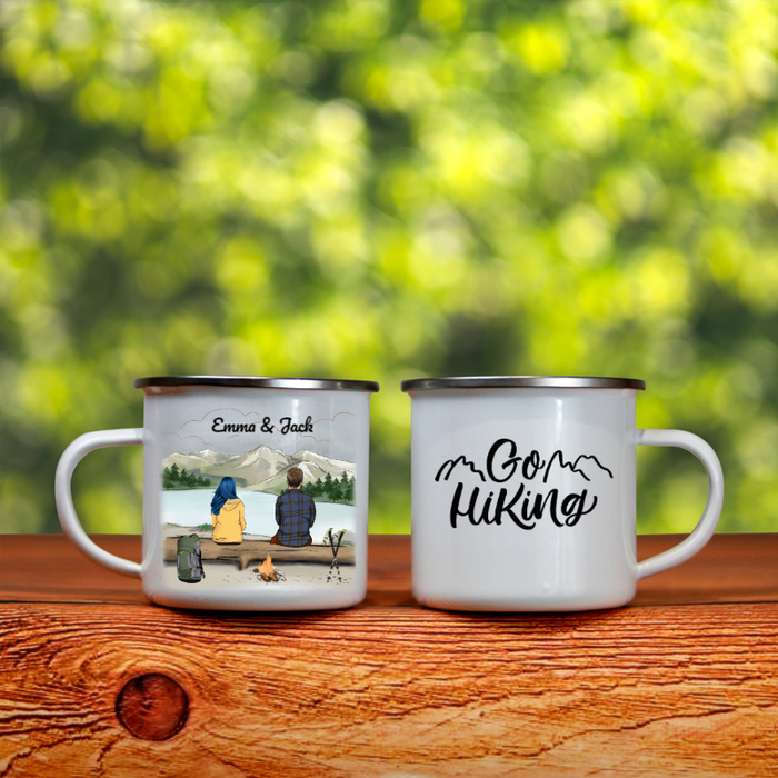 Personalized enamel mug, gift idea for couple, hiking lovers - Couple hiking enamel mug - Let's go hiking