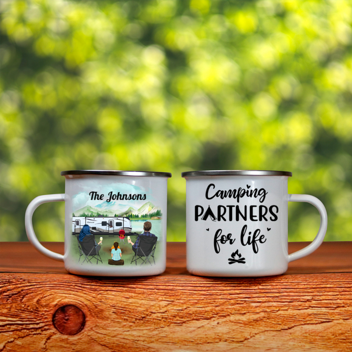 Personalized camping campfire mug gift idea for the whole family - Parents with 1 kid - Father's day gift - Mother's Day Gift From Husband To Wife - Let's go camping
