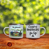 Personalized camping campfire mug, best gift for couple, the whole family - Couple with family name Enamel Mug - Camping partners for life