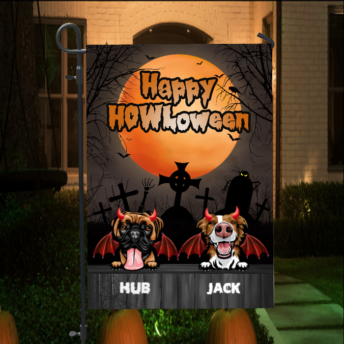 Devil Dogs Halloween Personalized Garden Flag