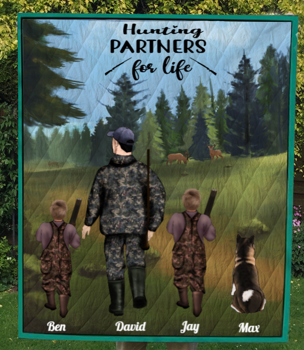 Personalized Hunting Blanket, Father's Day Gift Idea For Dad - Father with 2 Kids & Pet Hunting Quilt - Hunting Partners for Life