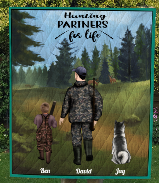 Personalized Hunting Blanket, Father's Day Gift Idea For Dad - Father with 1 Kid & 1 Pet Hunting Quilt - Hunting Partners for Life