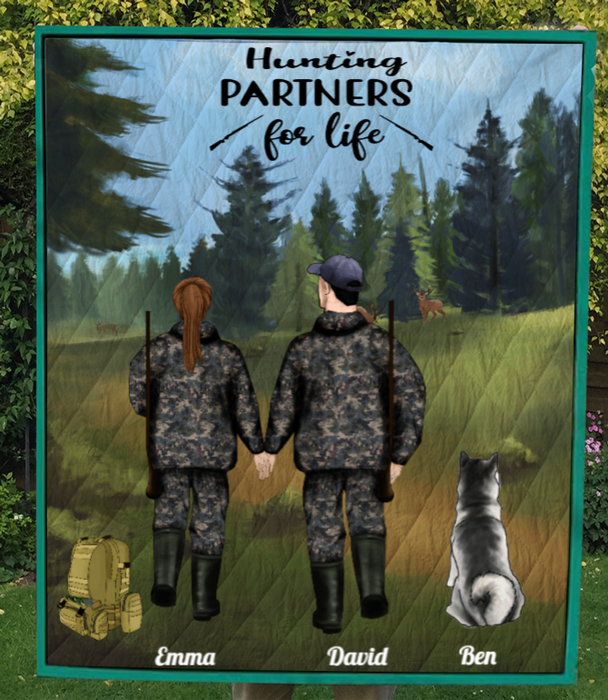Personalized Cat, Dog & Owners Hunting Blanket, Gift Idea for the whole family, hunting lovers - Couple & 1 Pet Hunting Quilt - Hunting Partners for Life