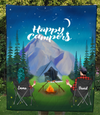 Custom Personalized Couple Blanket, Gift For Camping Lovers - Best Camping Blanket - Couple Night Mountain Camping Quilt Blanket - No Kid, No Pet